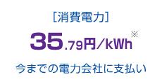[消費電力]35.79円/kWh今までの電力会社に支払い